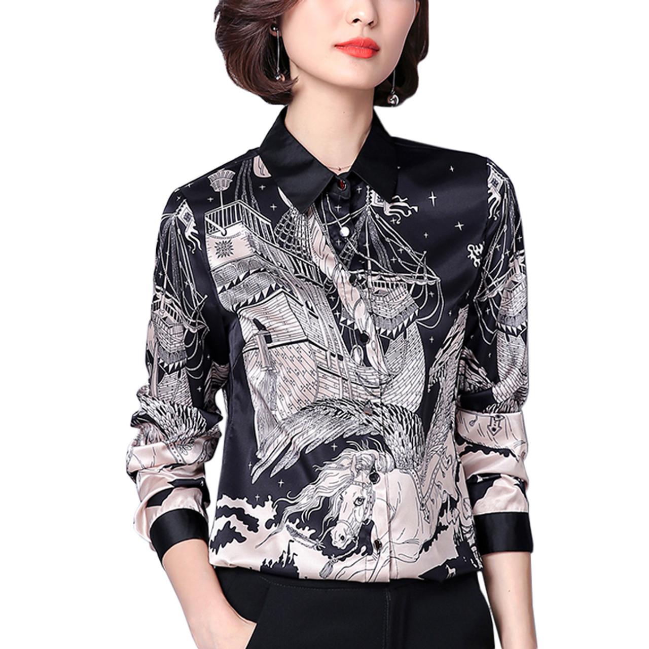 d7018fa69dd1c New Arrival 2018 Spring Female Imitation Silk Satin Blouse Slim Women s  Printing Shirt Long Sleeve Plus ...