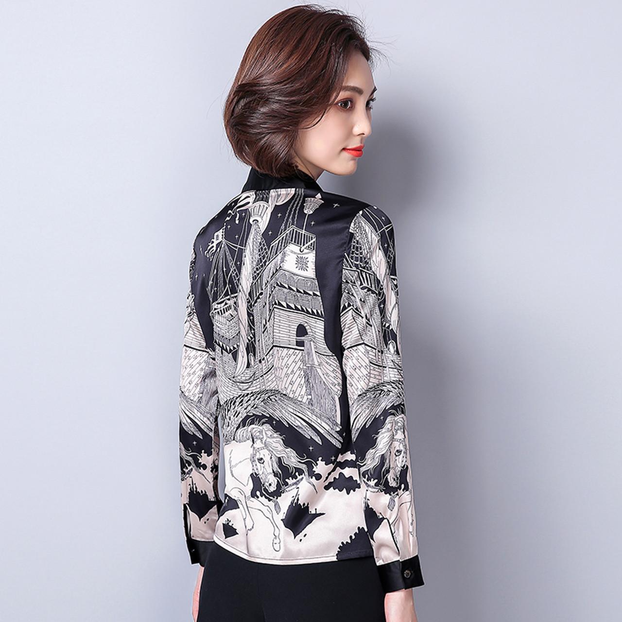 45af880d349d3 ... New Arrival 2018 Spring Female Imitation Silk Satin Blouse Slim Women s  Printing Shirt Long Sleeve Plus ...