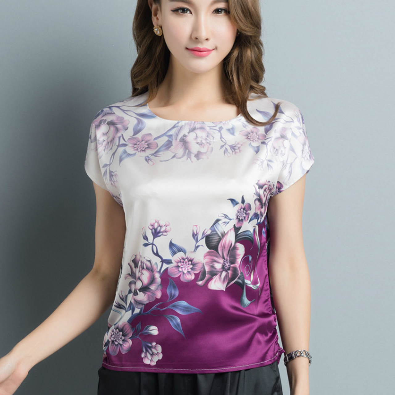 7f8e8fec49615 2017 Summer Plus size L-4XL print purple silk blouses women casual loose  flower print ...