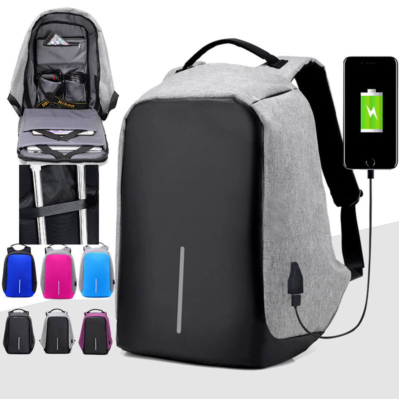 c17c90c64a27 Third Generation USB Charge Anti Theft Backpack Men 15inch Laptop Backpacks  Fashion Travel School Bags Bagpack ...