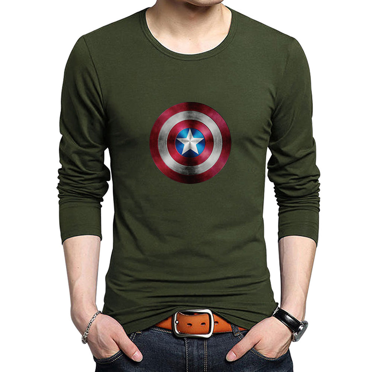 Men Plus Size  O Neck Cotton T-shirt Marvel Superhero Captain America Shield Tee
