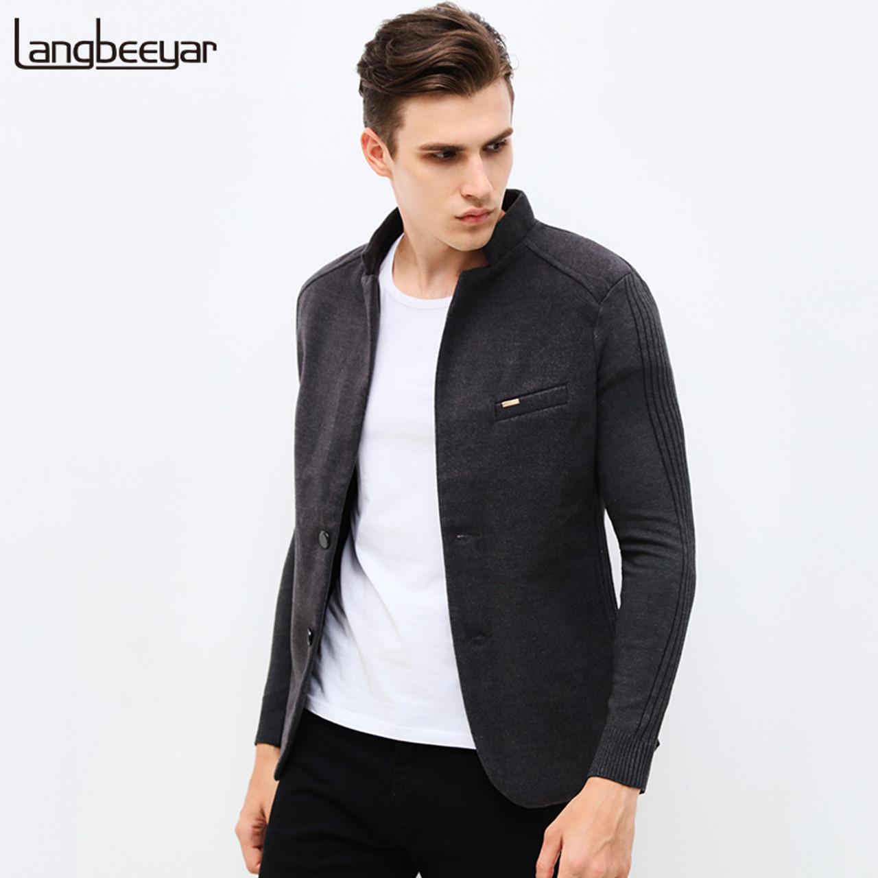 4f9ef20b 2018 New Autumn Winter Fashion Brand Unique Mens Blazer Jacket Woolen  Casual Blazer Slim Fit Patchwork Sleeve Men Suit Jacket