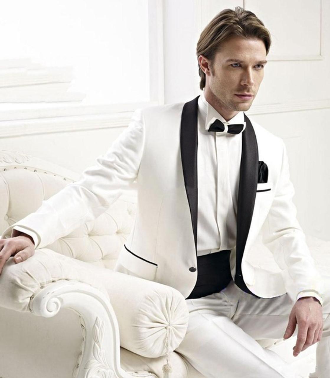 668257d8 ... Slim Fit Men Suit Tuxedo With Black Lapel Wedding Suit For Man Ternos  Masculino Mens Suits ...