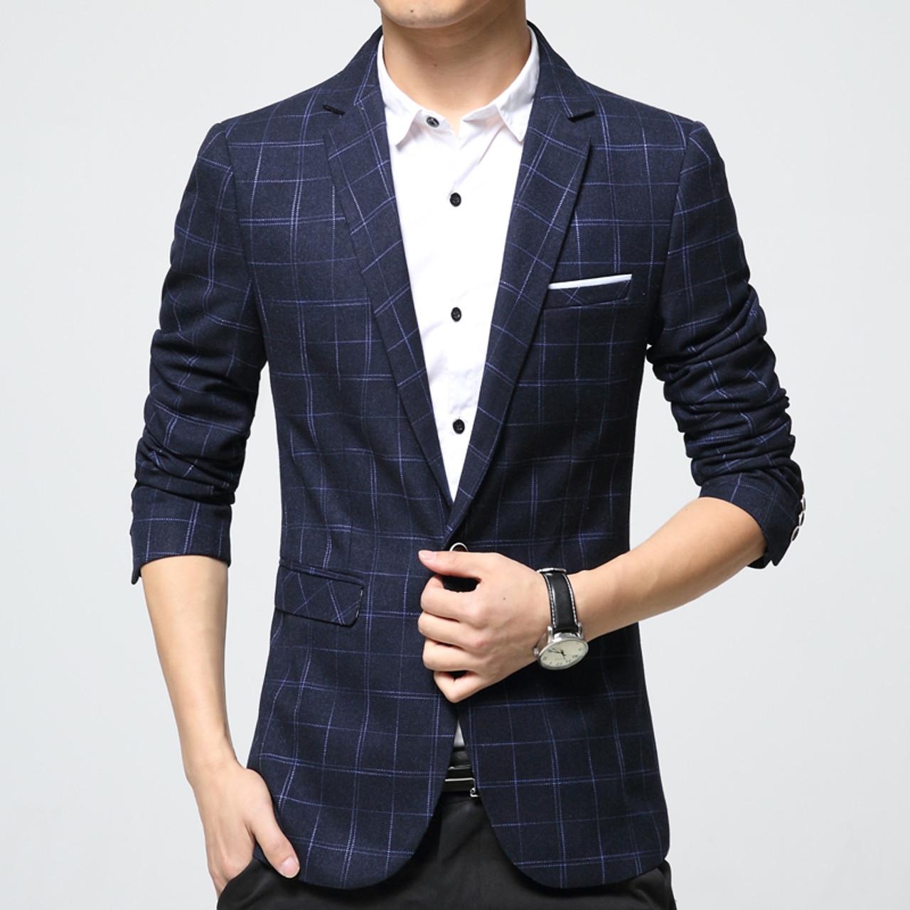 Mens plaid blazer cotton mixed casual