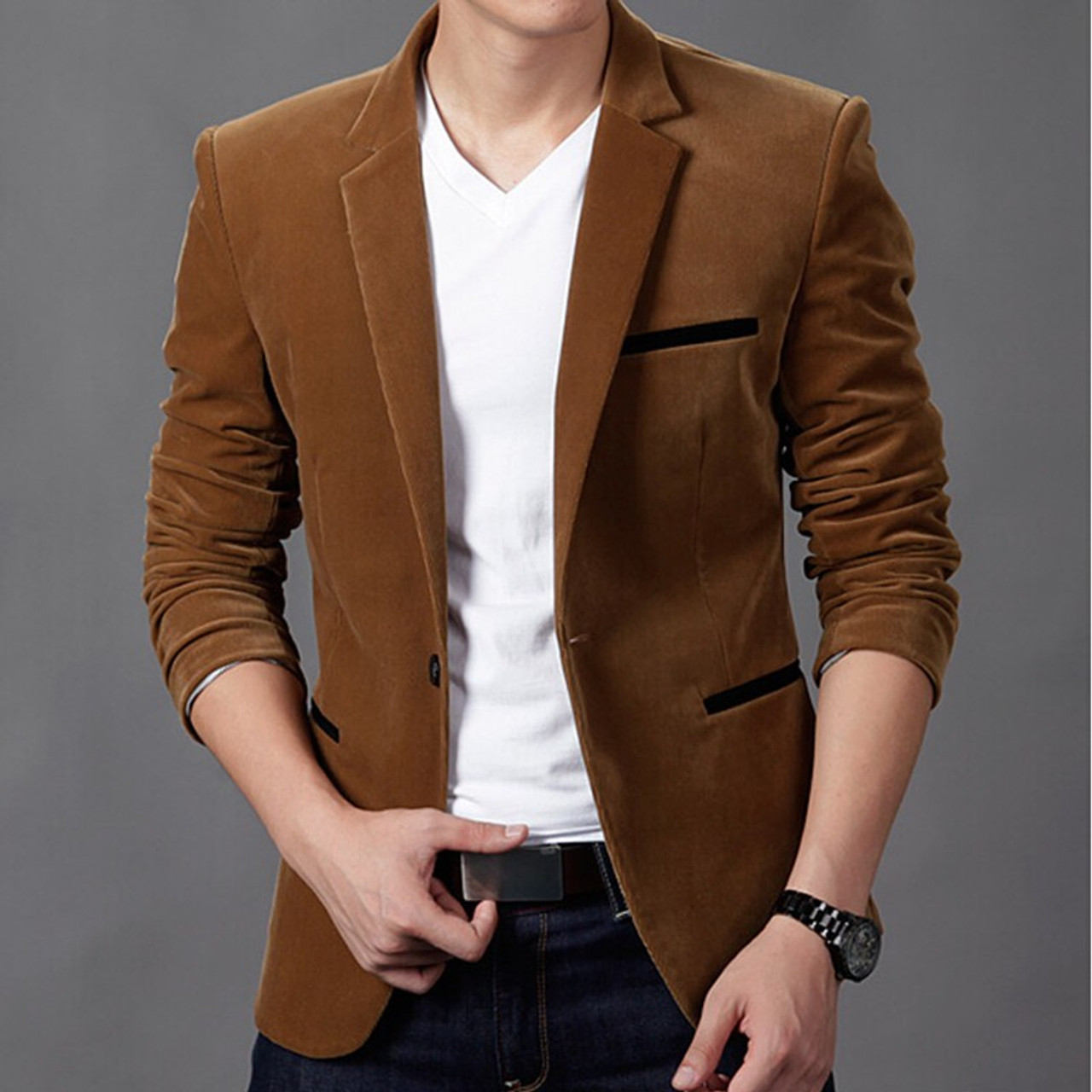 a202f21c923ec ... 2018 mens blazer brand clothing casual suit Slim Jacket Single Button corduroy  blazer men dress suits ...