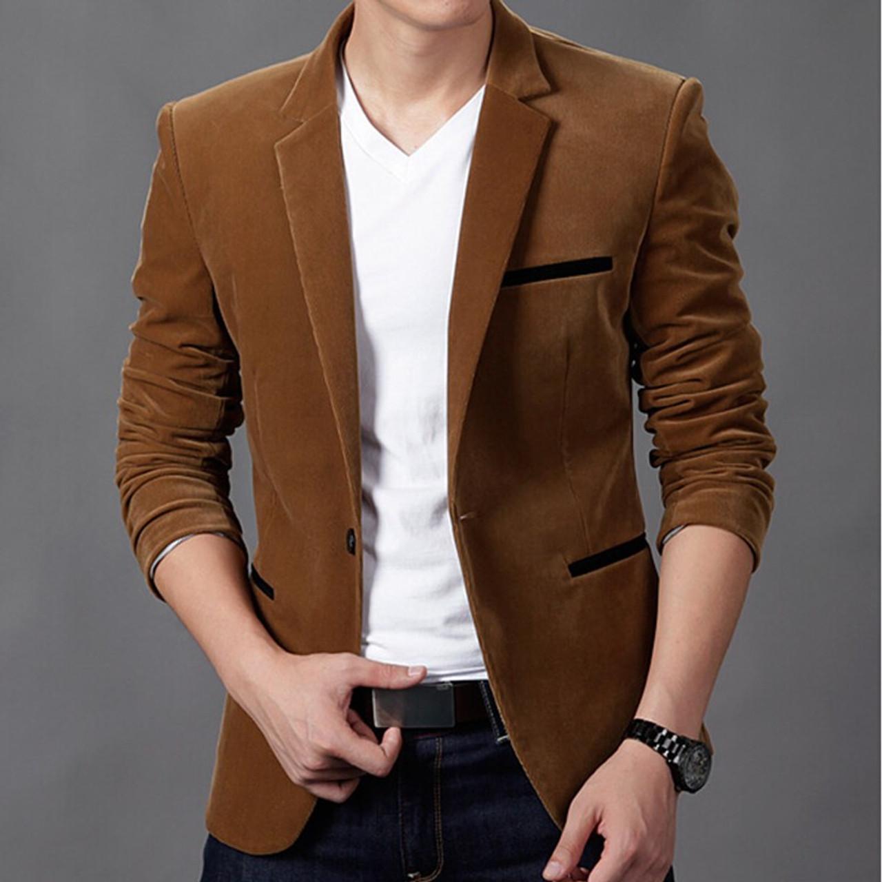 23670fbc629 ... 2018 mens blazer brand clothing casual suit Slim Jacket Single Button  corduroy blazer men dress suits ...