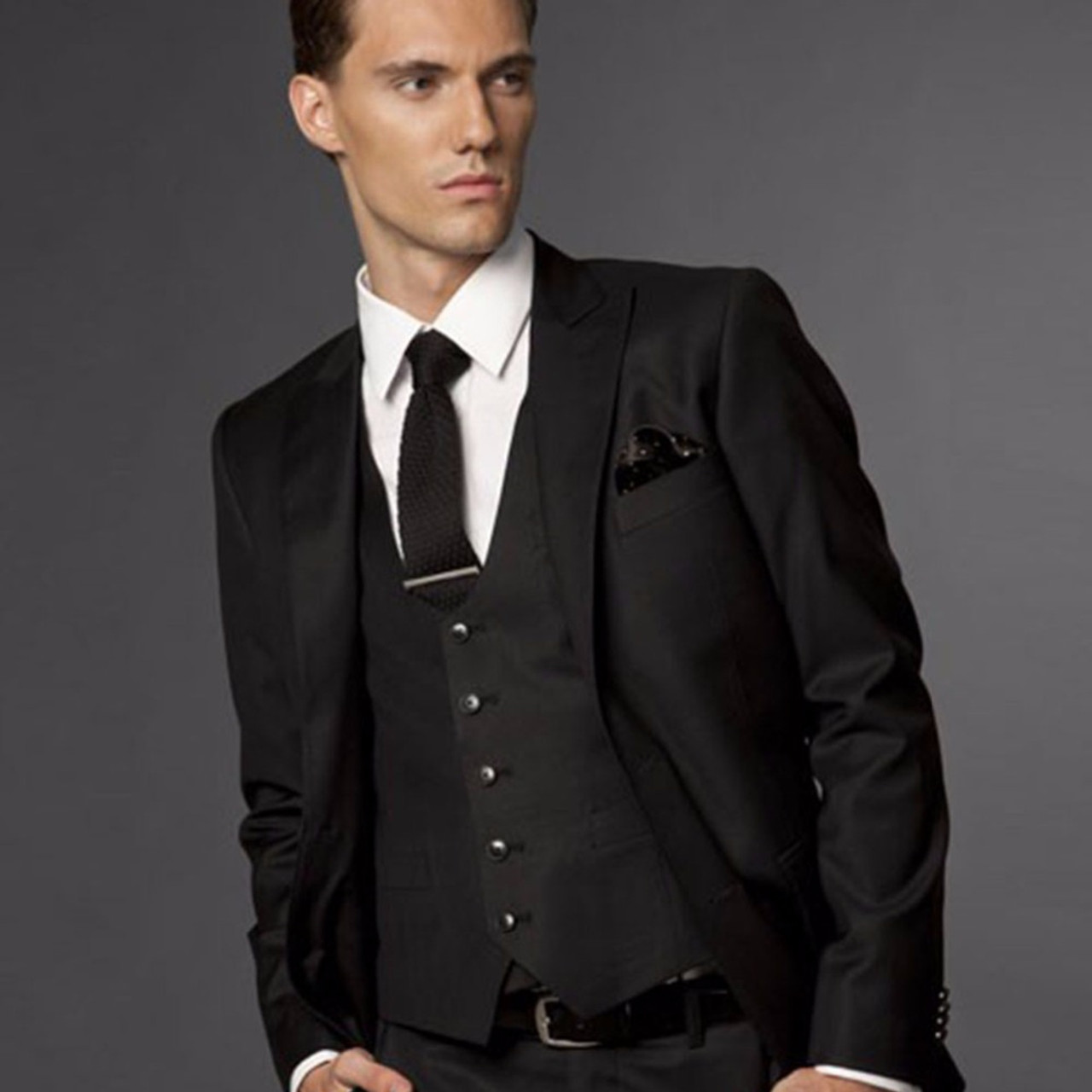 cf3e83a815e Black Wedding Suits For Men
