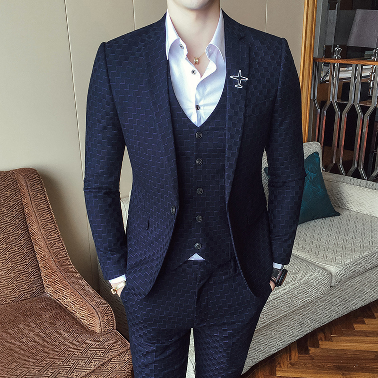 a5367c2bb7ae Check Suits For Men 3 Piece Wedding Suits For Men Costume Slim Fit ...