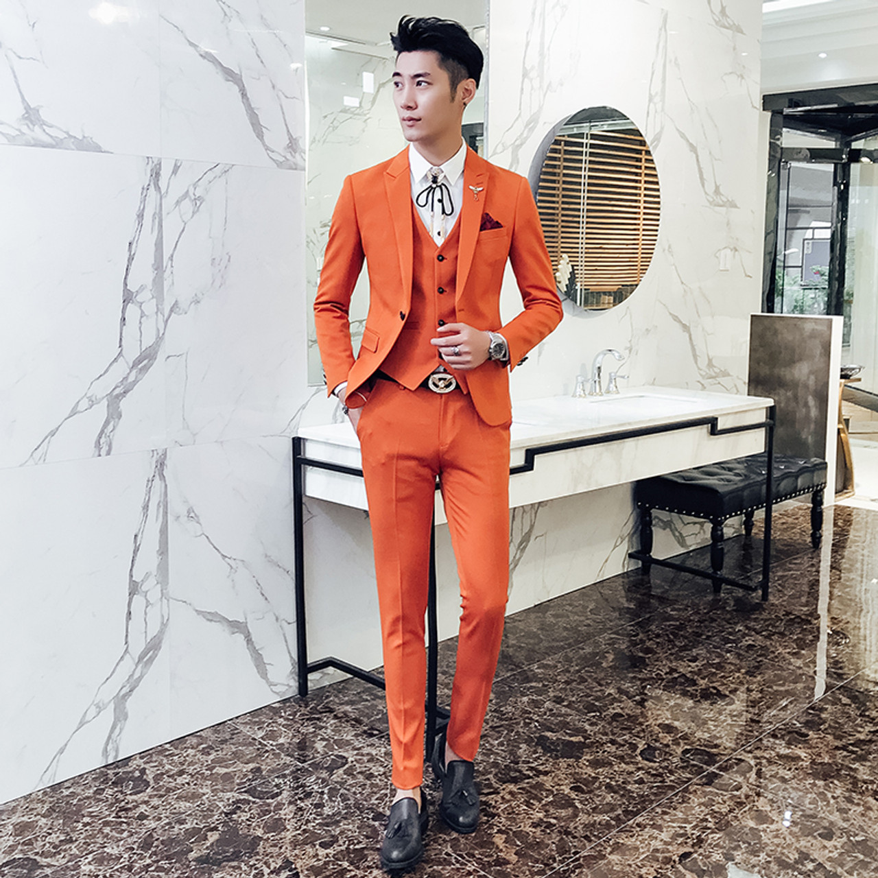 Red Prom Suit 2018 New Evening Man Dress Wedding Suit Male Black Orange White Blue Costume Homme Ternos Slim Masculino 3 Pieces Onshopdeals Com