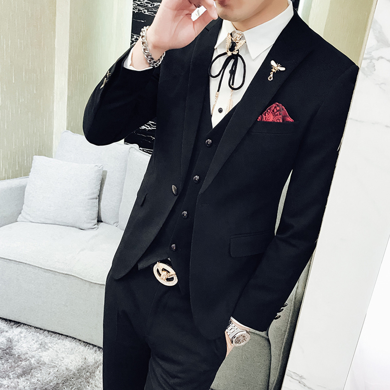 Red Prom Suit 2018 New Evening Man Dress Wedding Suit Male Black