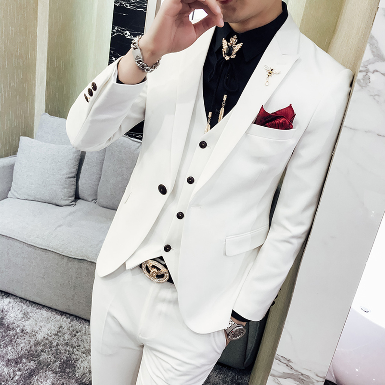 Red Prom Suit 2018 New Evening Man Dress Wedding Suit Male