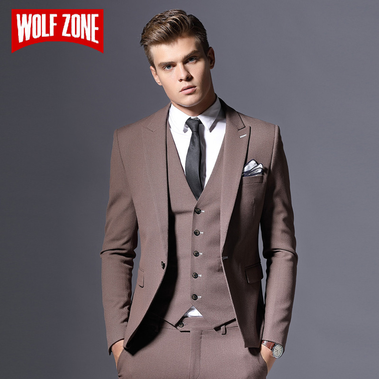 759ac51f6a20 Sale Brand Mens Suit Jacket Formal Business Blazer Men Groom Three Pieces Slim  Fit Party Clothing ...
