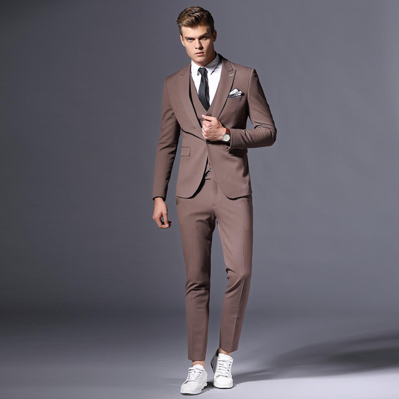 253cf145894 ... Sale Brand Mens Suit Jacket Formal Business Blazer Men Groom Three  Pieces Slim Fit Party Clothing ...
