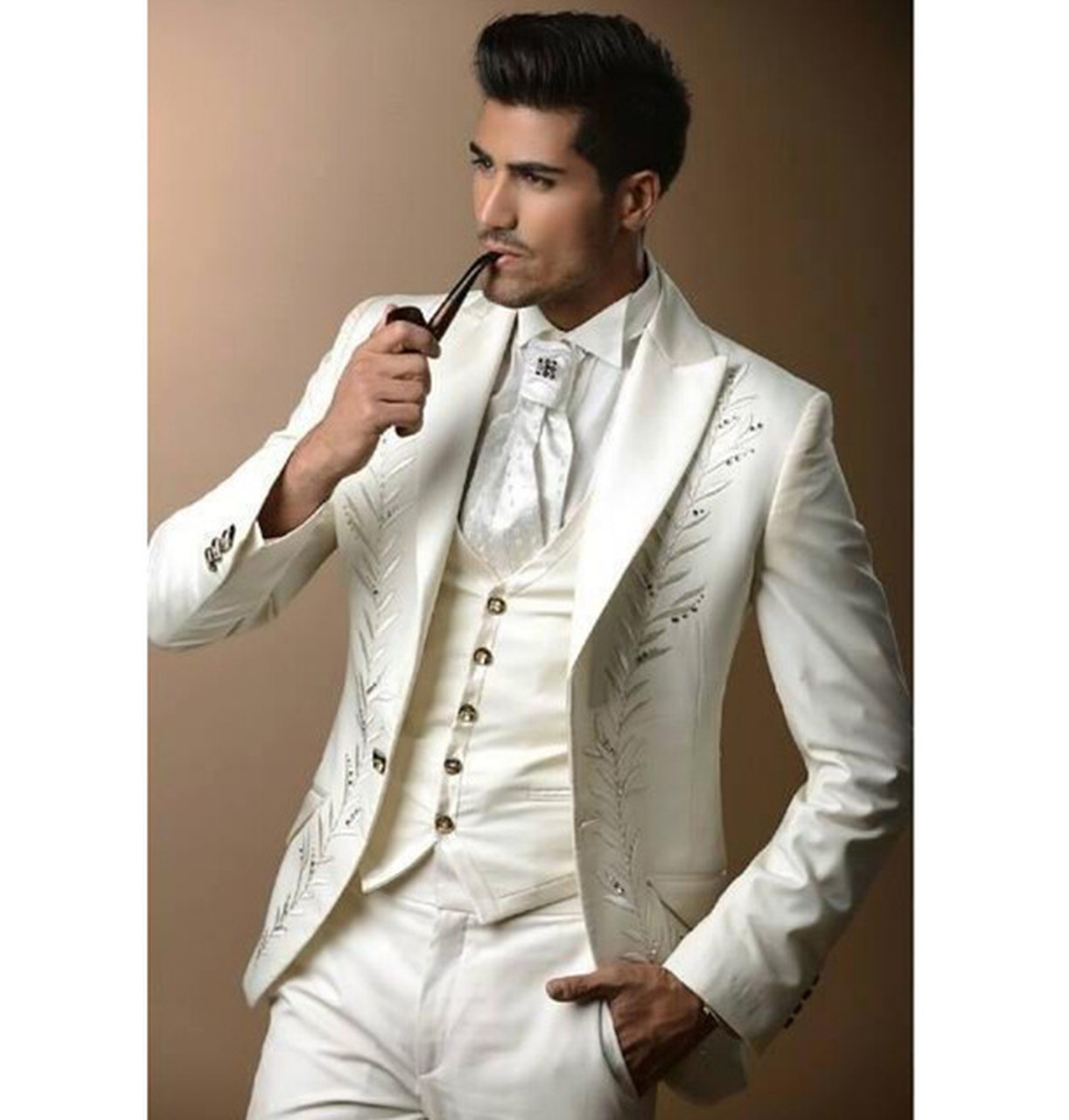 358fa666c37 Custom Made Classic Embroidery White Men s Party Suits Groom Tuxedos  Rhinestones Groomsmen Blazer Suit (Jacket ...