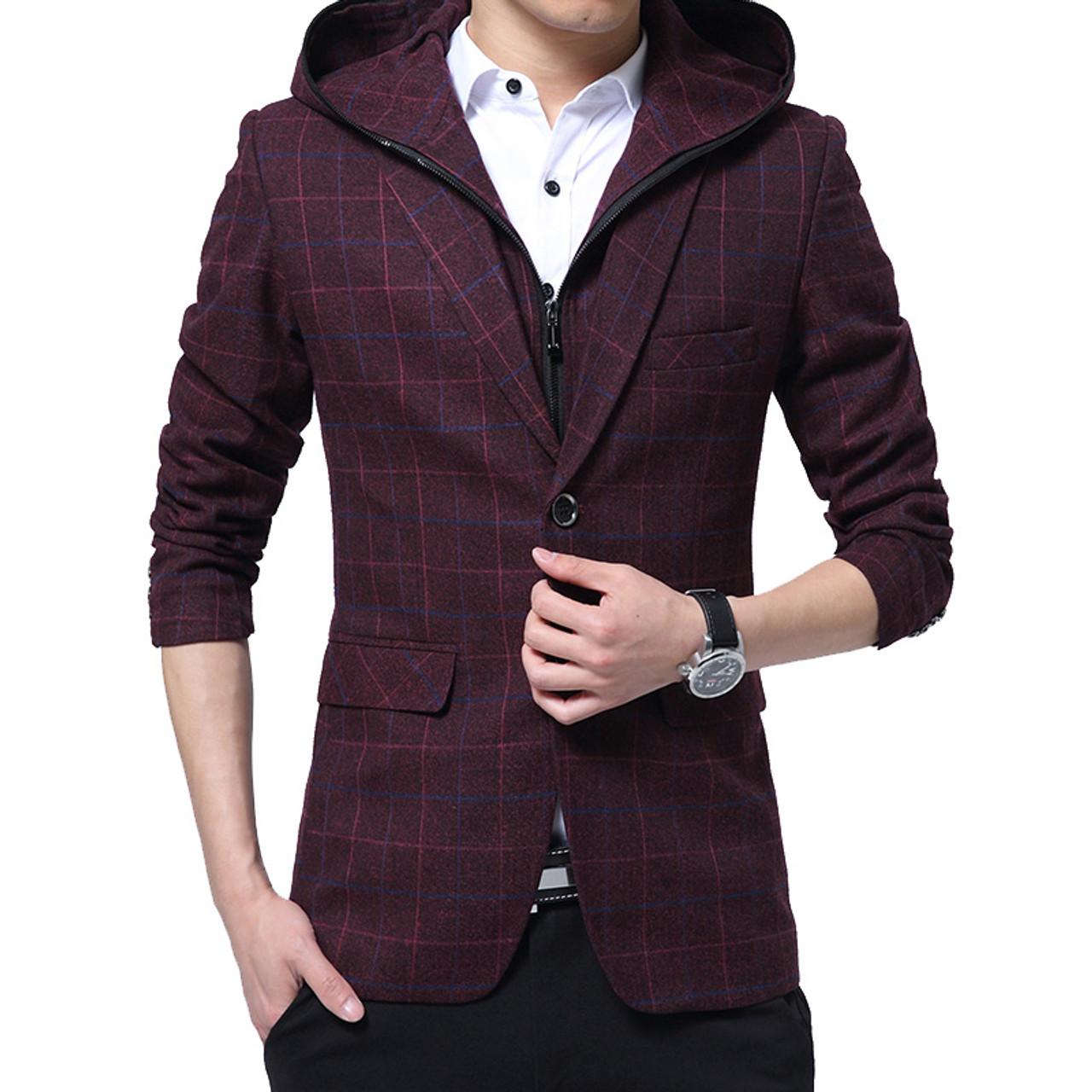 45869a2a0e213 ... Men Blazer Detachable Hooded Design Blazer Men's Casual Jacket Slim Fit  Plaid Suits Costume Homme Classic ...