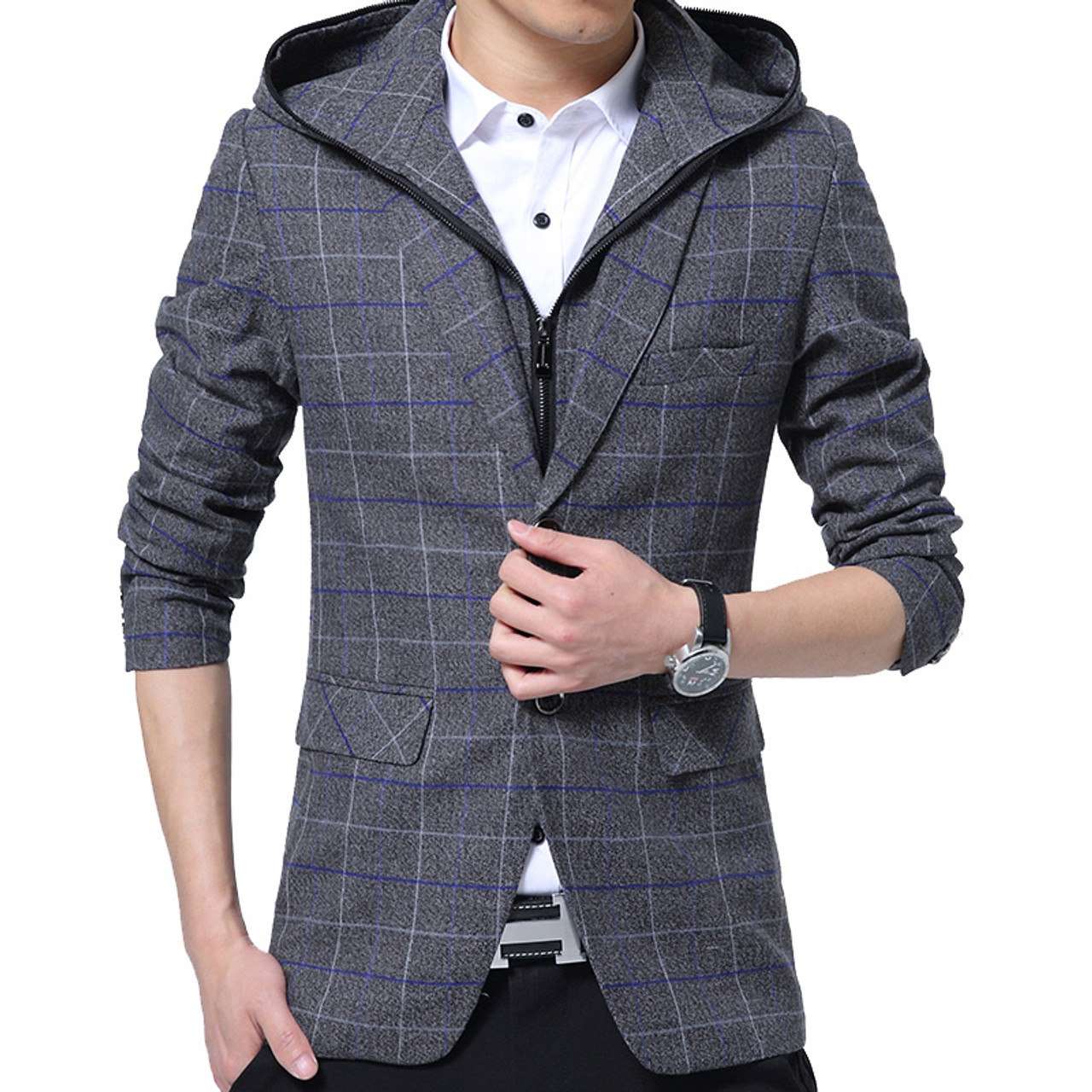 eaefd71371 ... Men Blazer Detachable Hooded Design Blazer Men's Casual Jacket Slim Fit  Plaid Suits Costume Homme Classic ...