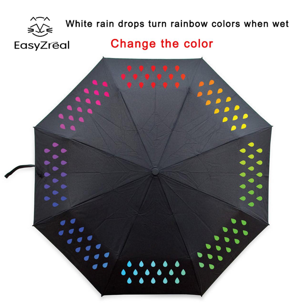 47626931a2f4e 2017 Creative 1pcs Colour Changing Umbrella gradient Rainbow Novelty pocket umbrella  rain women parasol ladies reverse ...