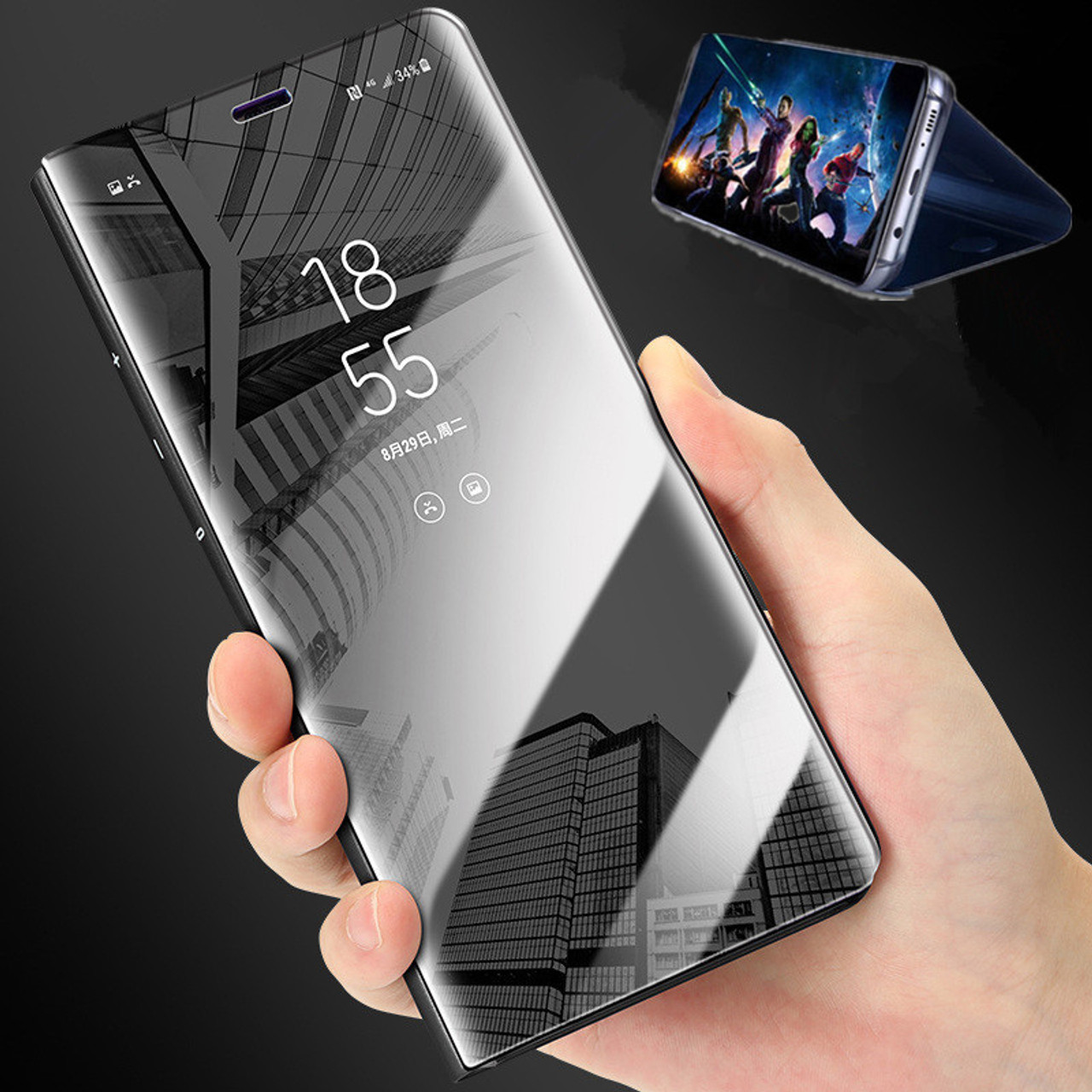 best sneakers 15058 be728 Luxury Touch Smart Flip Stand Clear View Phone Case For Samsung Galaxy S9  S8 Plus Mirror Case For Samsung S7 Edge Leather Cover