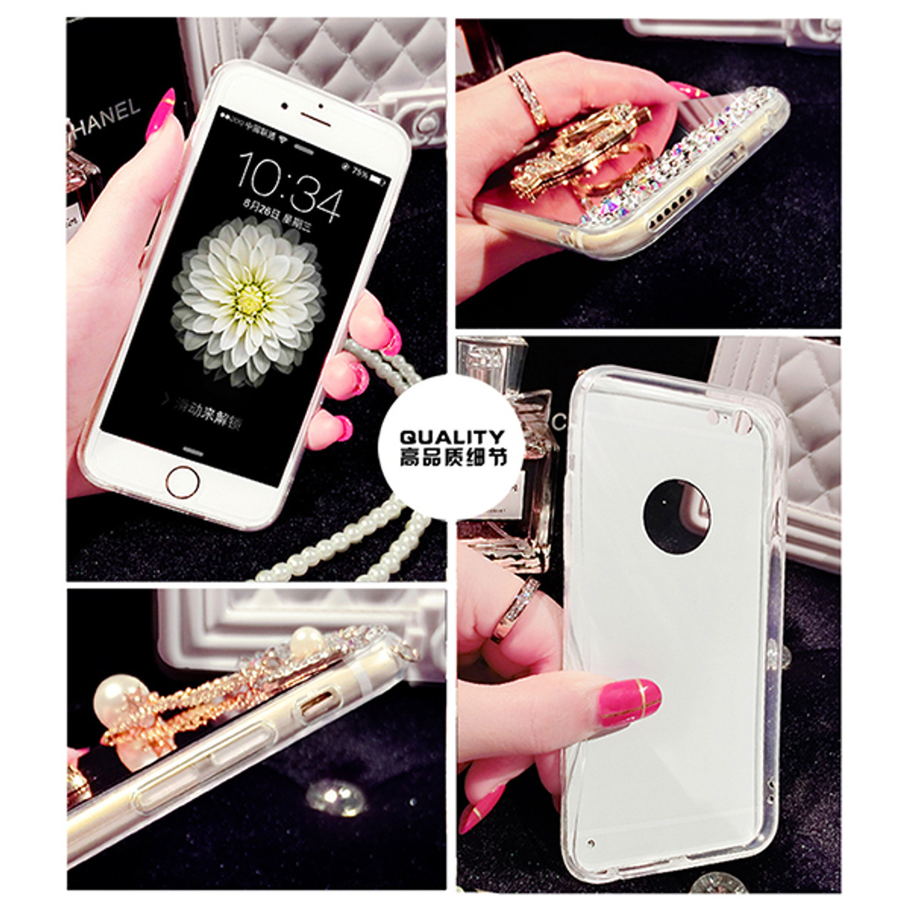 43916e5a365 Bling Star Crystal Rhinestone Diamond Case For iphone 6 Plus 5 5S 7 7 plus  Phone Case Back Cover Hello Kitty Case