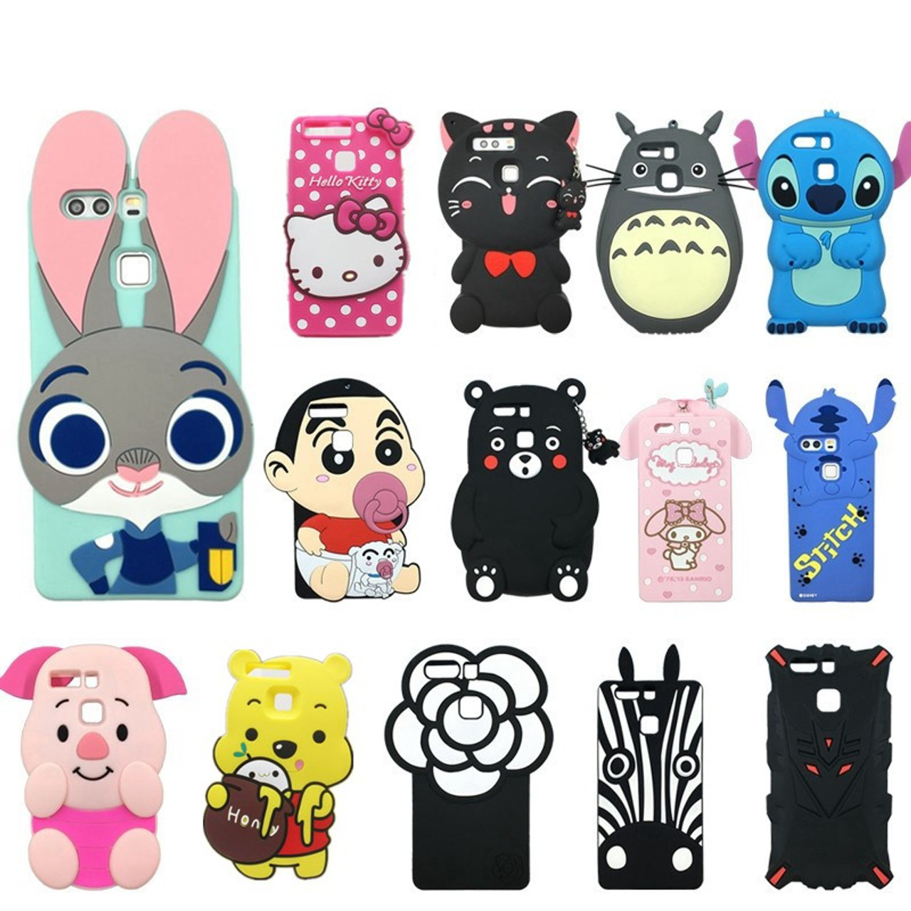 half off c536b 0a2ef 3D Cute Cartoon Soft Silicone Mobile Phone Case Cover For Huawei P9 Rabbit  Minnie Hello kitty Bear Case for Huawei P9 Lite