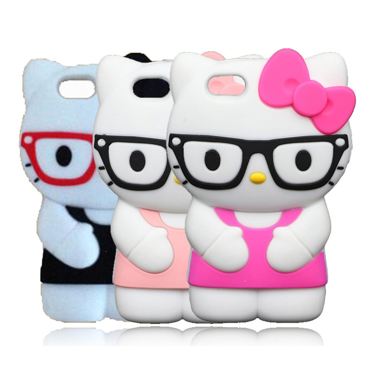 3d cute cartoon glasses hello kitty case for iphone se 5 5s 5g 5c