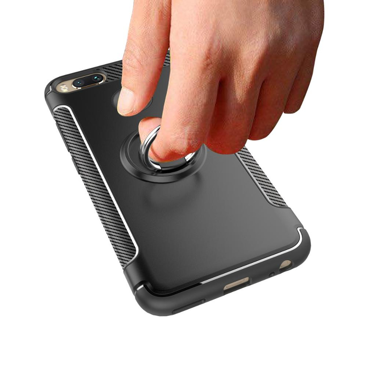 Gertong Soft Silicone Hard Pc Case For Xiaomi Mi 5x A1 Magnetic Brushed Carbon Armor Mi5s 5s Ring Cover