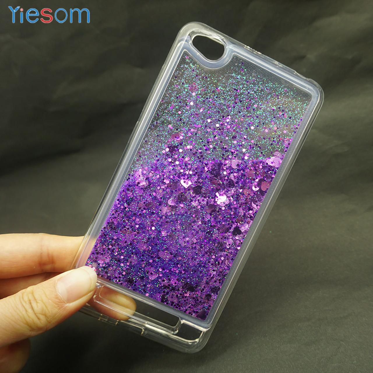 cheap for discount d9519 14dab YIESOM Case for Xiaomi Redmi 4A Case Luxury Glitter Stars Liquid Soft  Silicone TPU Phone Cases for Xiaomi Redmi 4A Back Cover