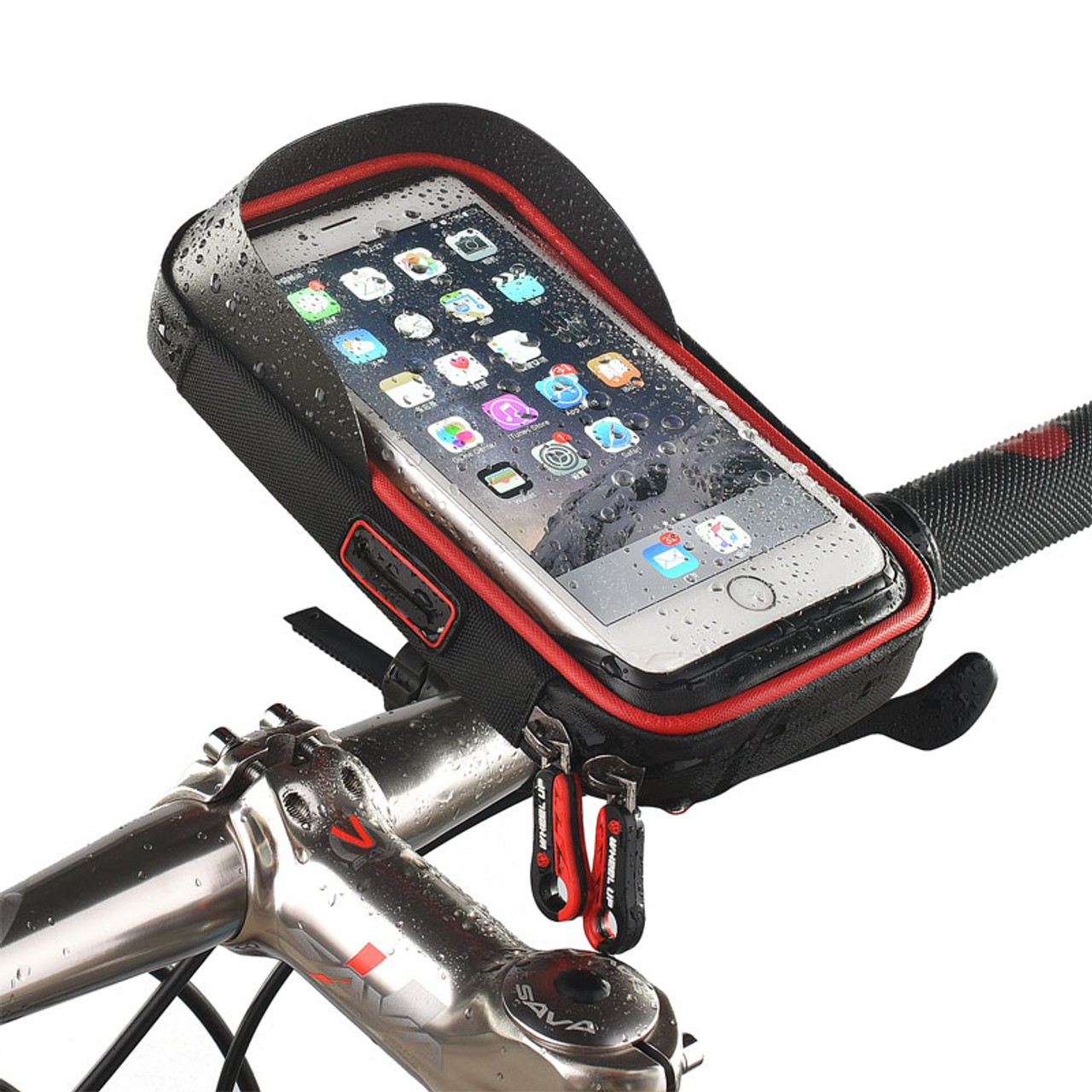 half off d8094 4c520 6 inch Bike Bicycle Waterproof Cell Phone Bag Holder Motorcycle Mount for  Samsung galaxy s8 plus/iPhone 7 plus/LG V20/Mate 9
