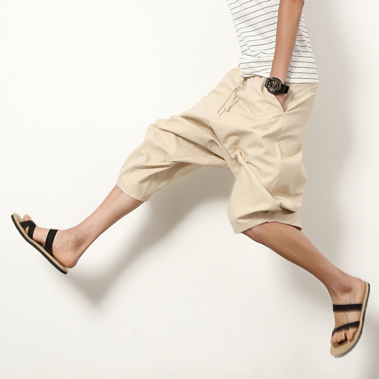 1a5c10340 Summer Harlan Linen Cotton Casual Pants Men Drawstring Waist Male Solid  Color Patch Pants Loose Trousers ...