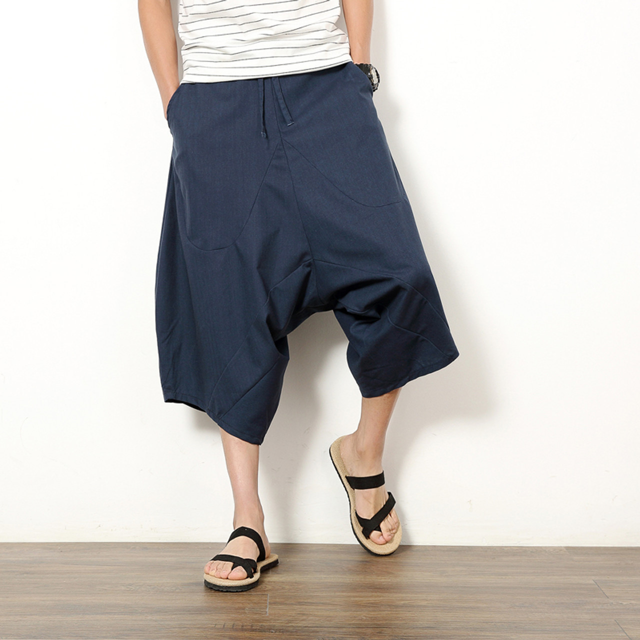 4f9104c53b ... Summer Harlan Linen Cotton Casual Pants Men Drawstring Waist Male Solid  Color Patch Pants Loose Trousers ...