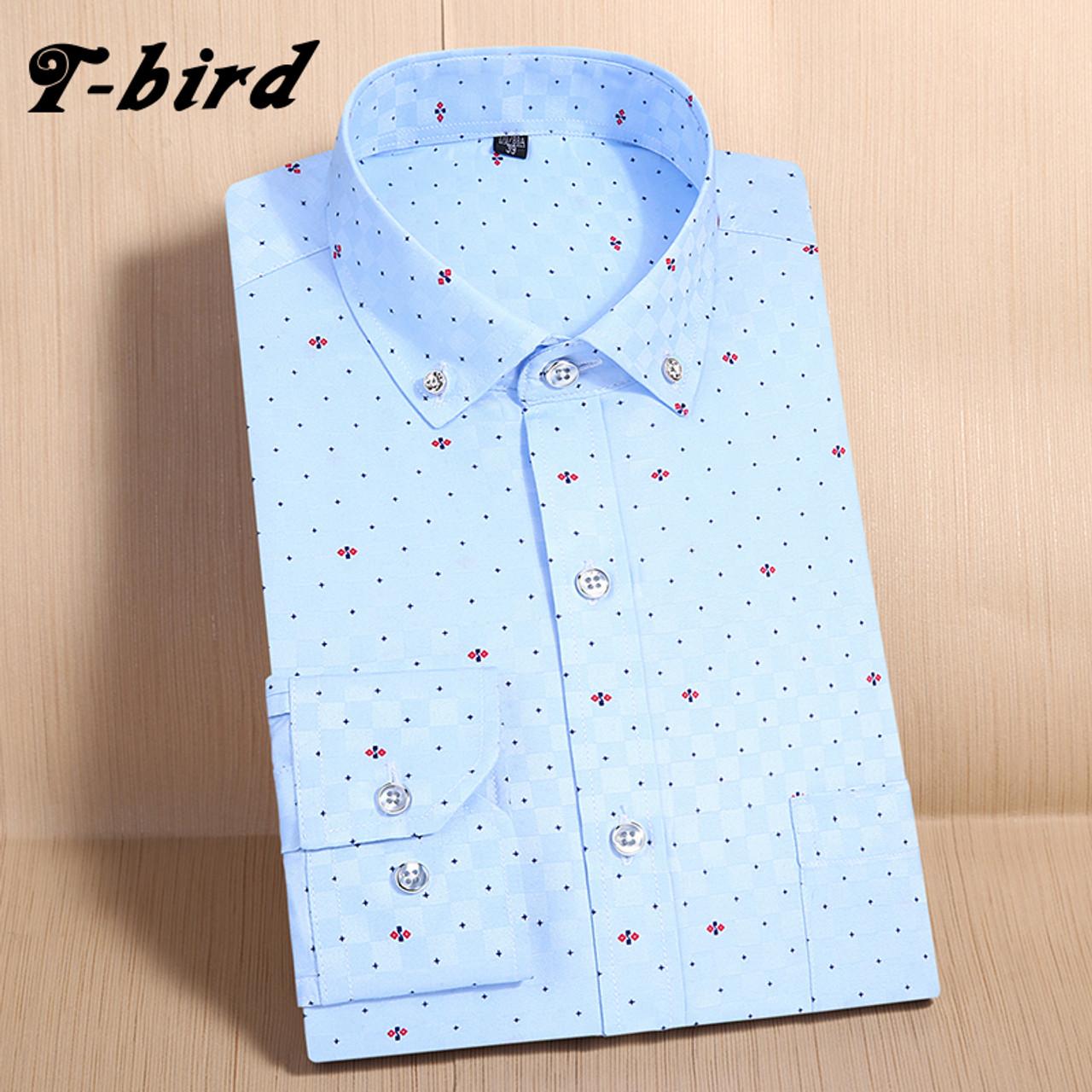 15d19d96caee T-Bird Men Shirt Long Sleeve Print Casual Shirt camisa masculina Brand High  Quality Men'S ...