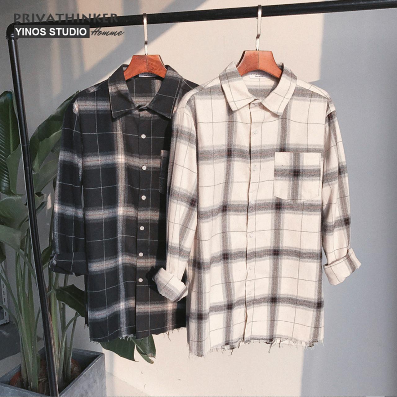 7f9bacc4 ... Privathinker Spring Oversized Long Sleeve Shirt Men Women Casual Plaid  Flannel Burr Shirts Harajuku Male Strip ...