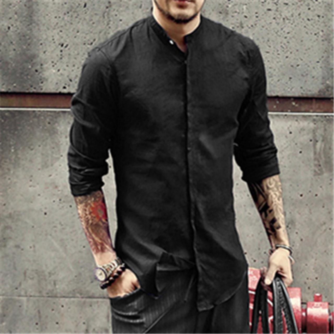 c885ce400204 ... Casual Mandarin Collar Shirts Men Cotton Linen Designer Brand Slim Fit  Man Shirts Long Sleeve White ...