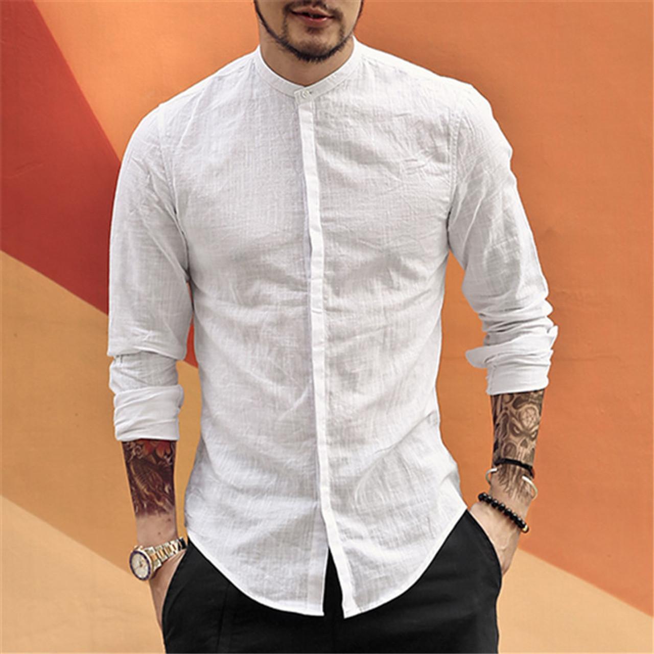 5df5d20acd0e ... Casual Mandarin Collar Shirts Men Cotton Linen Designer Brand Slim Fit  Man Shirts Long Sleeve White ...