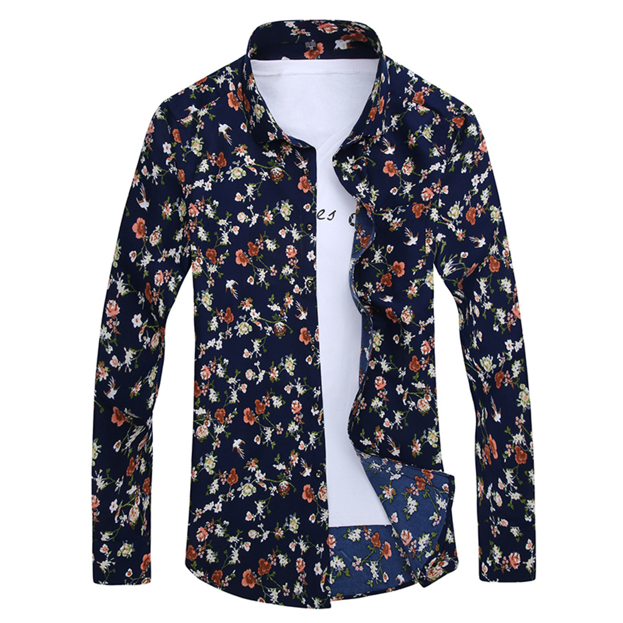 3c9429d99d1 ... 2018 Retro Floral Printed Man Casual Shirts Fashion Classic Men Dress  Shirt Breathable Men s Long Sleeve ...