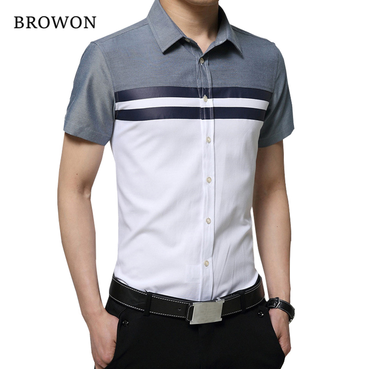 68e5d576477f ... BROWON New Arrival Mens Shirt Fashion Short Sleeve Men Shirt Regular Fit  Striped design Social Shirt ...