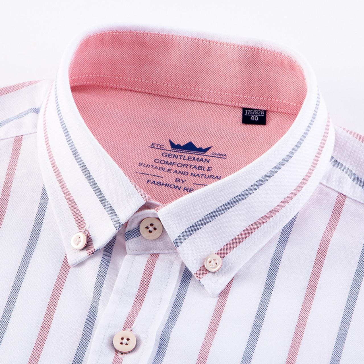 f5c85b180 ... Men's 100% Cotton Multi Striped Oxford Dress Shirt with Left Chest  Pocket Smart Casual Regular ...