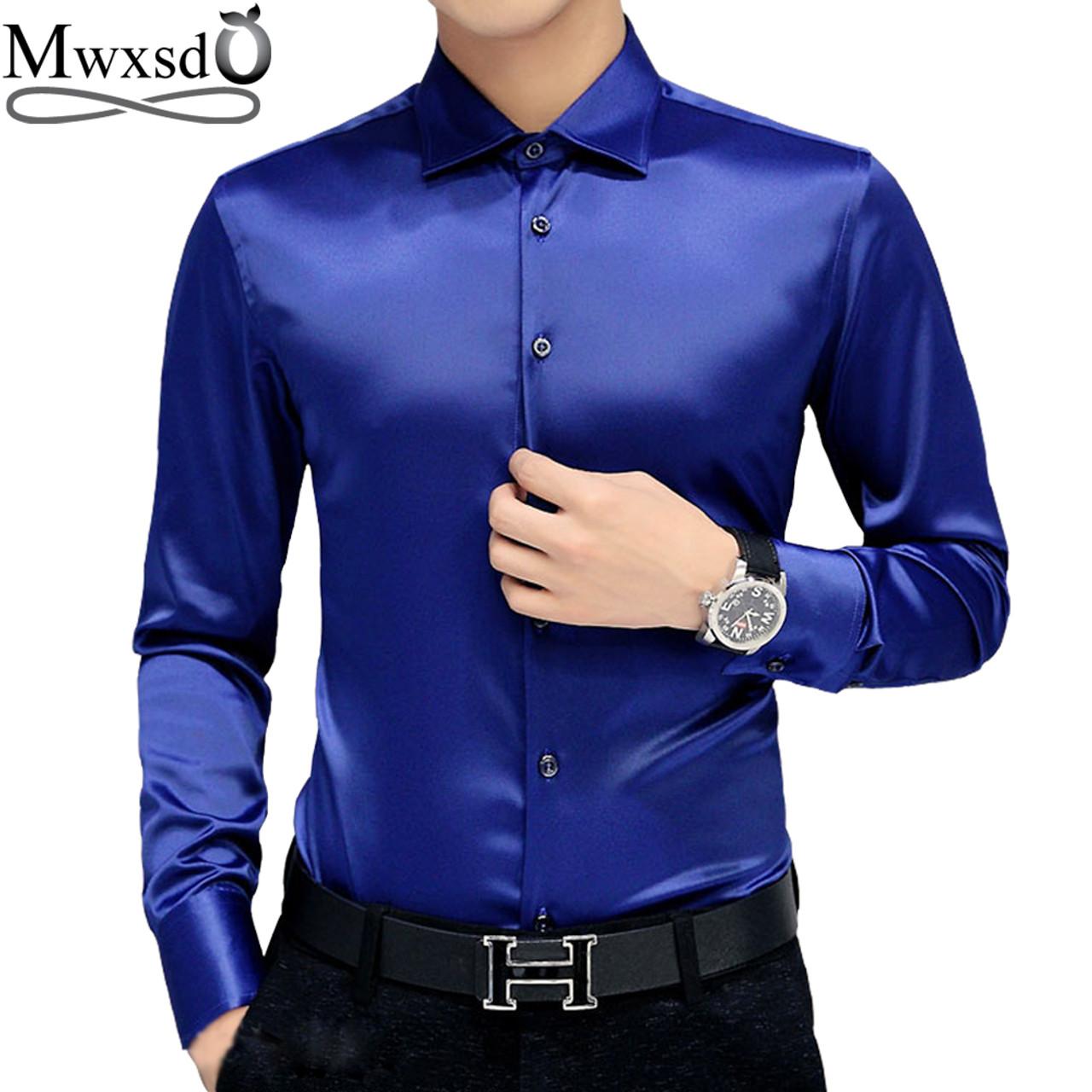 37f423a4068 Mwxsd brand Men s tuxedo dress Shirts Wedding Party Luxury Long Sleeve Shirt  Silk soft Shirt Men ...