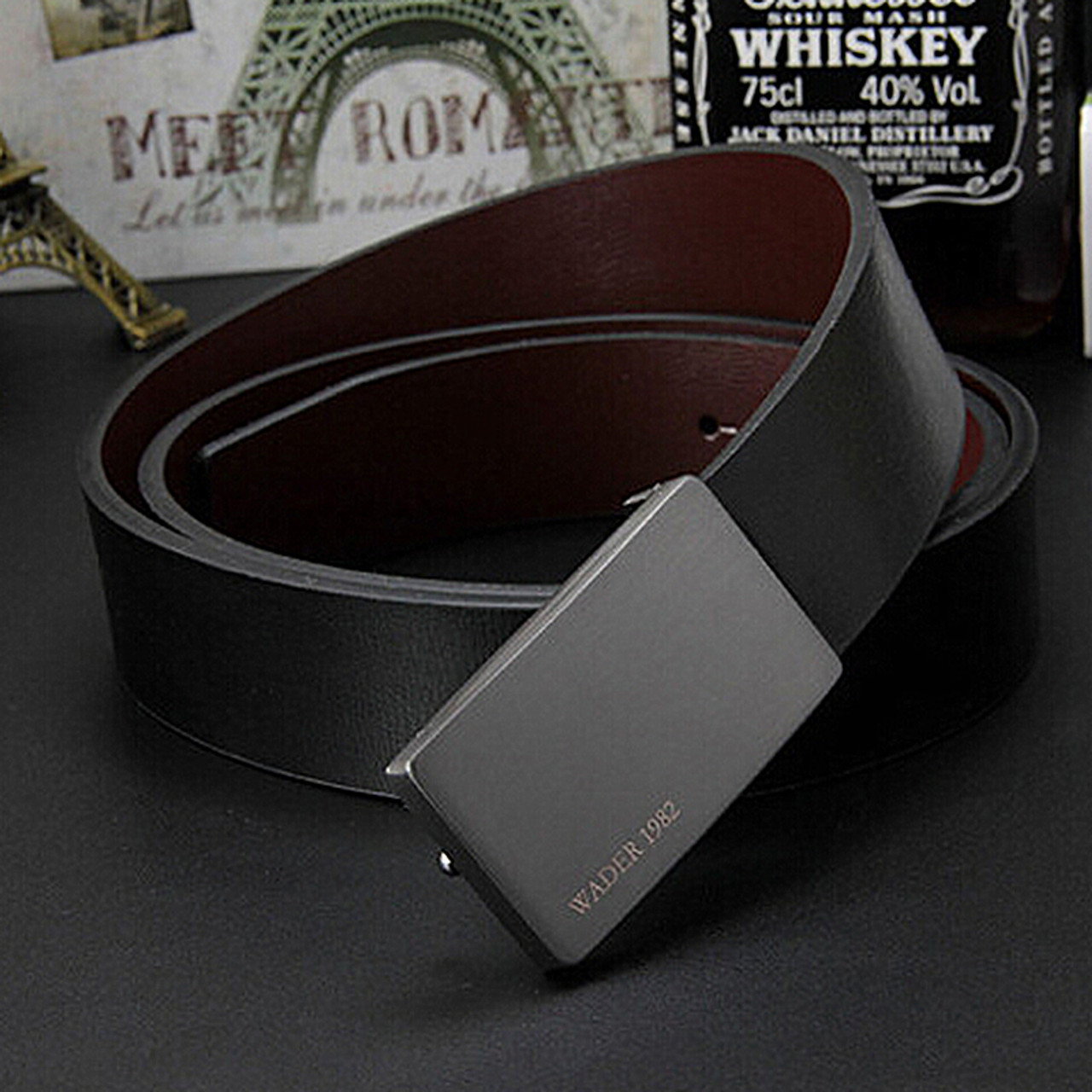 Men/'s Genuine Leather Belt Men Cowskin Double Metal Buckle Strap Suit Trousers