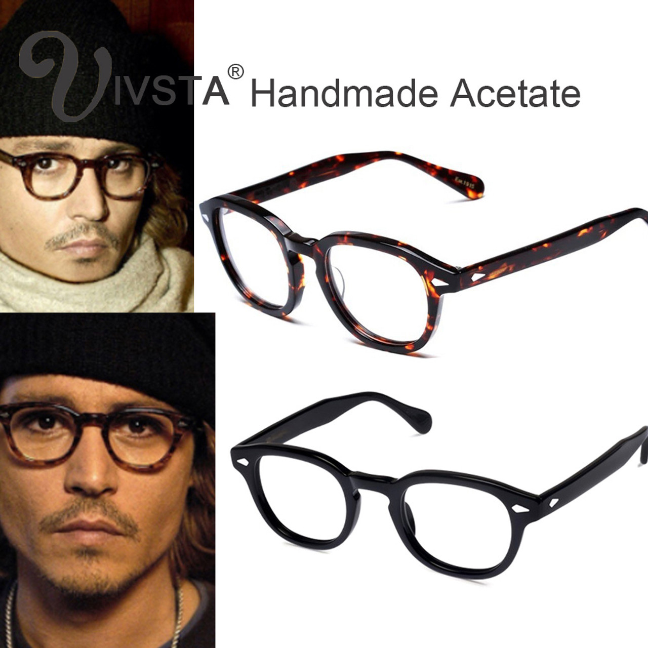 54dba7482dc IVSTA Mos Logo Handmade Acetate Frames Women Johnny Depp Glasses Men Brand  Designer Cellulose Tortoise Acetato Marca with Box - OnshopDeals.Com