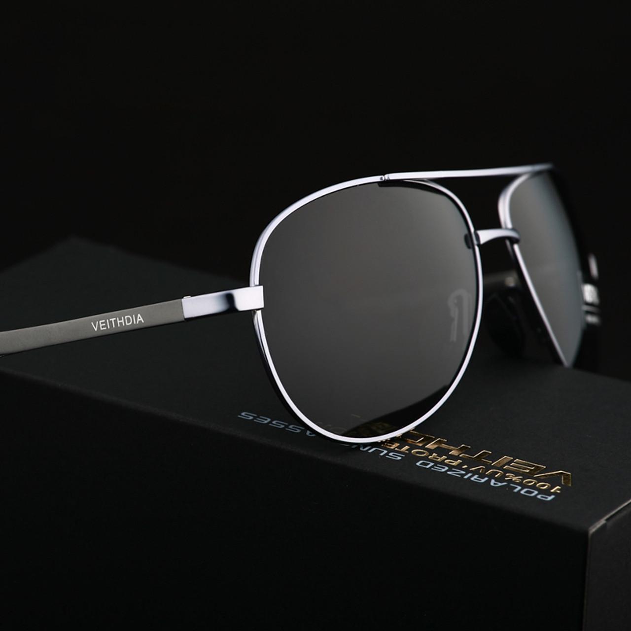 VEITHDIA Men/'s Sunglasses Brand Designer Pilot Polarized Male Sun Glasses