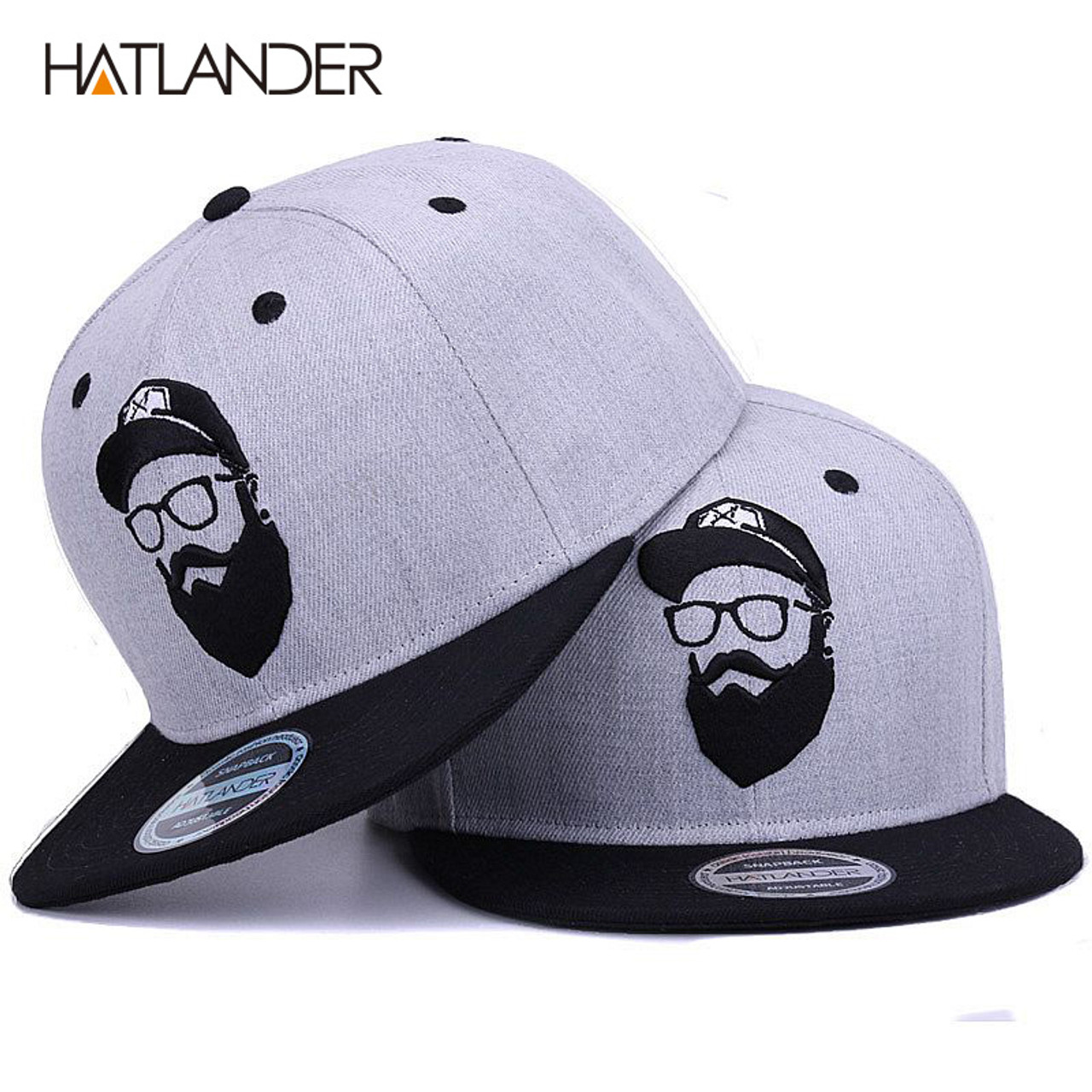 HATLANDER Original grey cool hip hop cap men women hats vintage embroidery  character baseball caps gorras planas bone snapback - OnshopDeals.Com 94bab383af2f