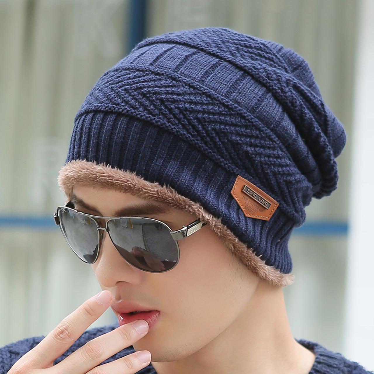 1e94a237509c0 ... Boys Men Winter Hat Knit Scarf Cap Winter Hats for Men Caps Warm Fur  Skullies Beanie ...