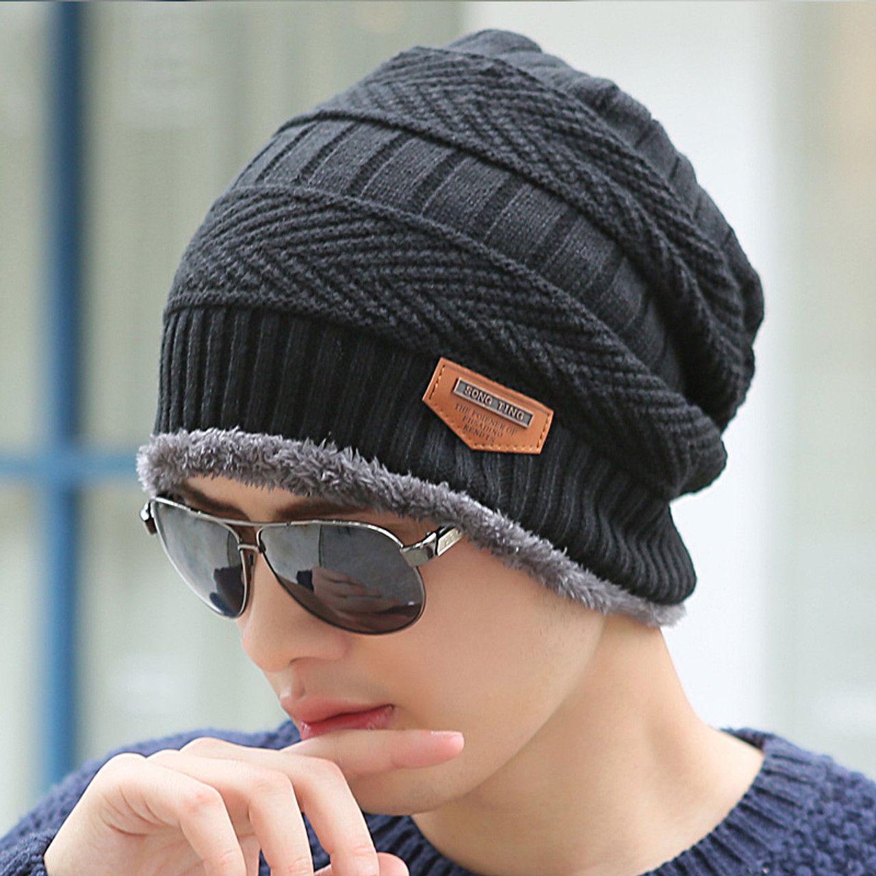 ... Boys Men Winter Hat Knit Scarf Cap Winter Hats for Men Caps Warm Fur  Skullies Beanie ... 8326e6048