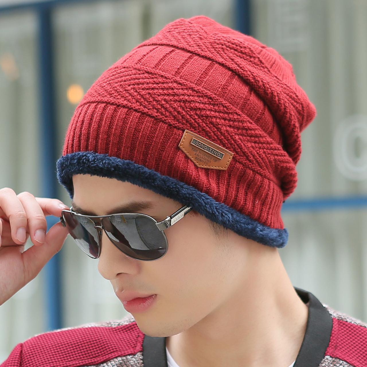 ... Boys Men Winter Hat Knit Scarf Cap Winter Hats for Men Caps Warm Fur  Skullies Beanie ... 5e27aca21bae
