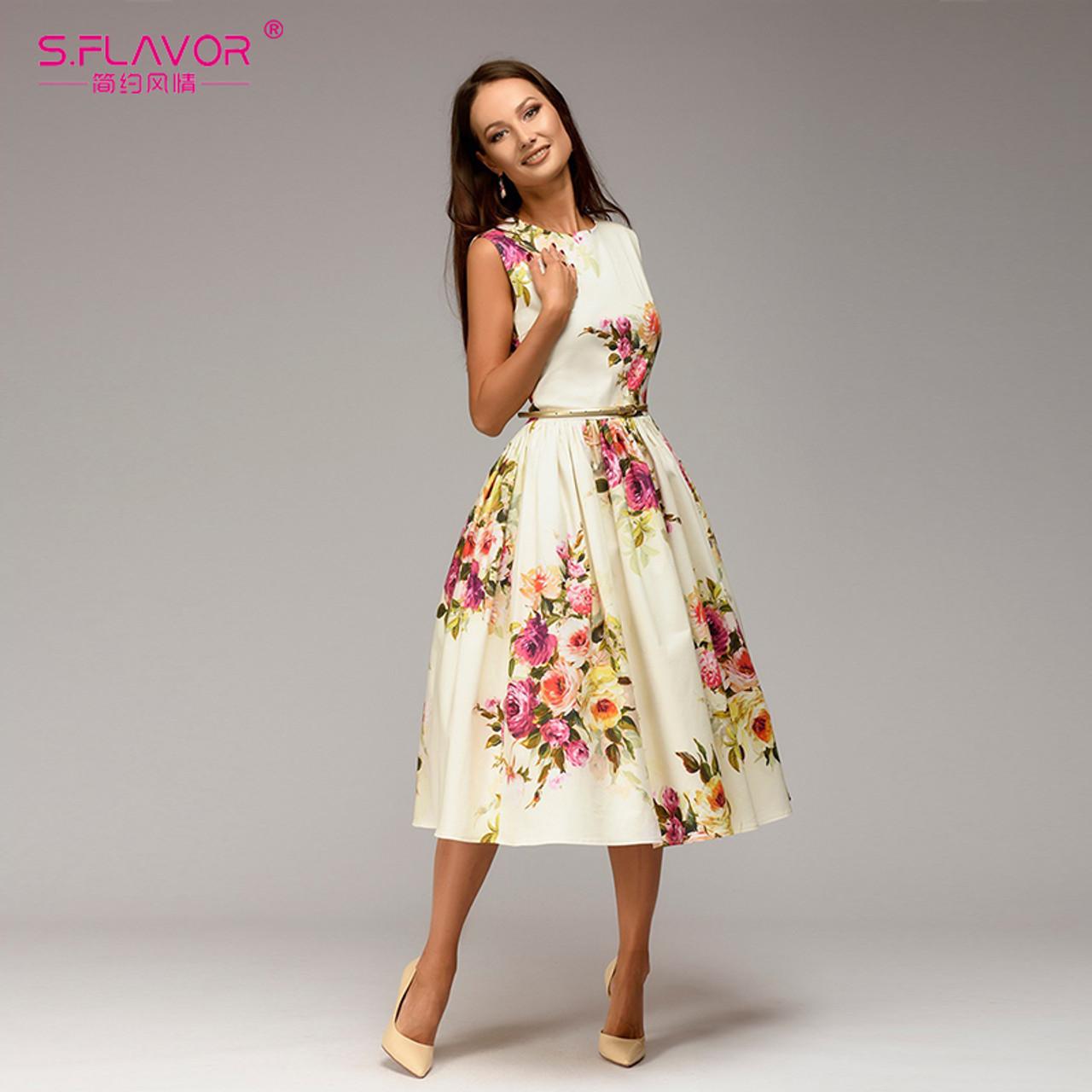13e99291377fd S.FLAVOR Lady party dress Hot sale Spring Summer women sleeveless flowers  printing vestidos Elegant casual A-line dress No Belt