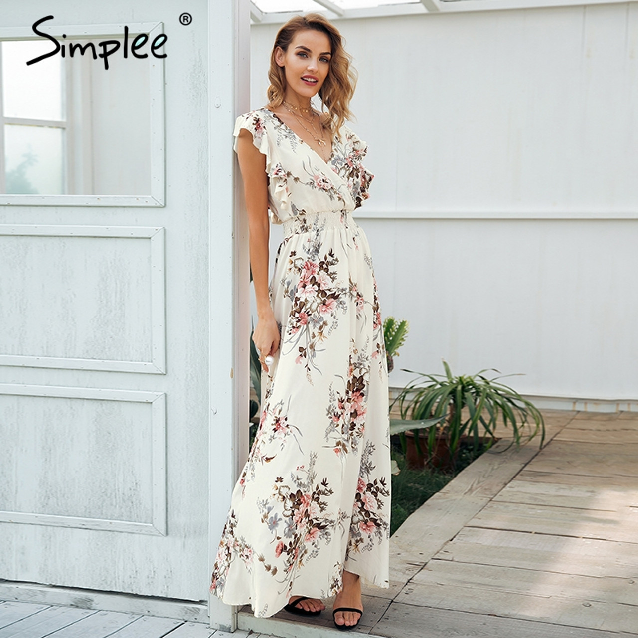 65f95e9910 ... Simplee Ruffle backless bow print long dress Women v neck tie up summer  dress female Casual ...