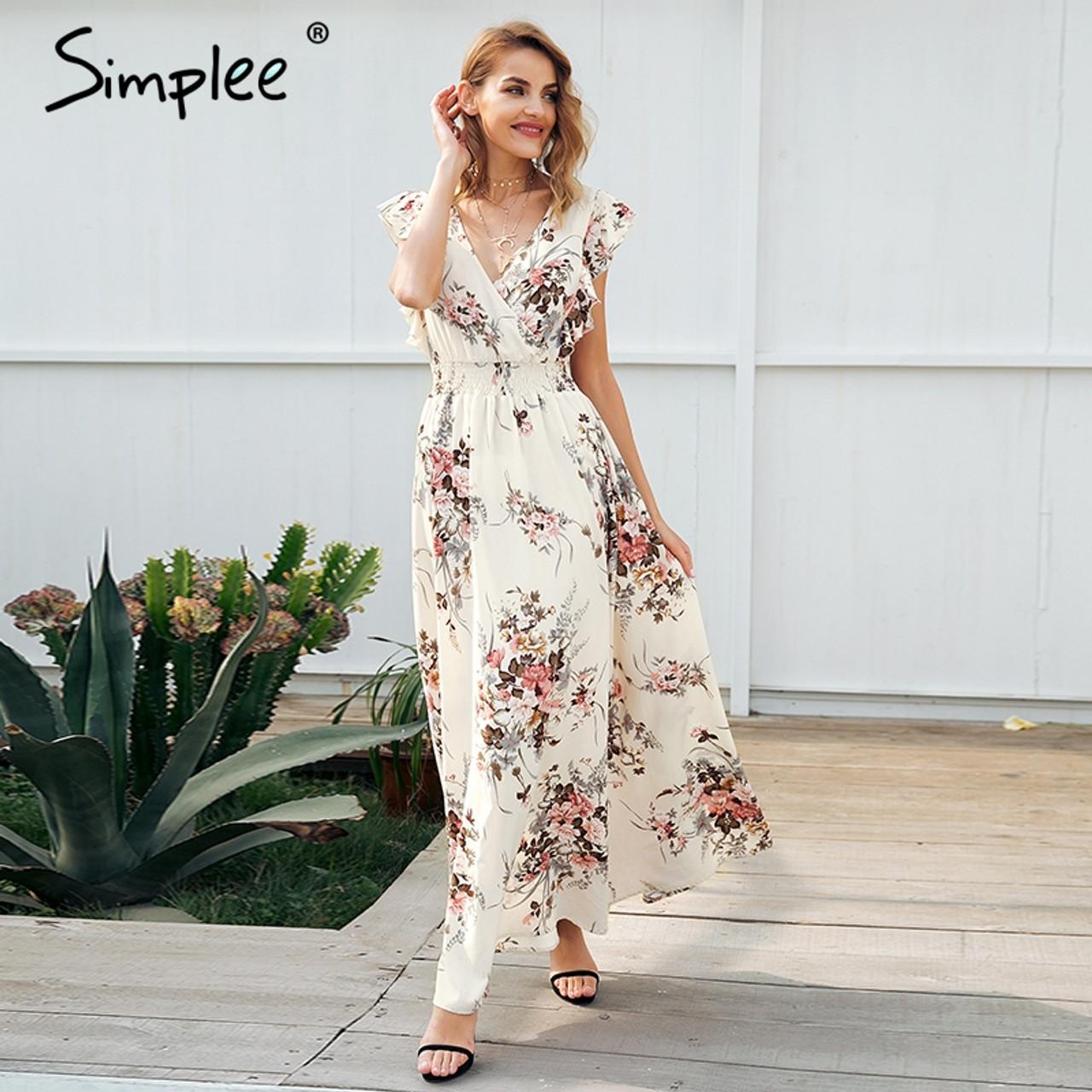1b70251f9a Simplee Ruffle backless bow print long dress Women v neck tie up summer  dress female Casual beach chic boho maxi dress vestidos - OnshopDeals.Com