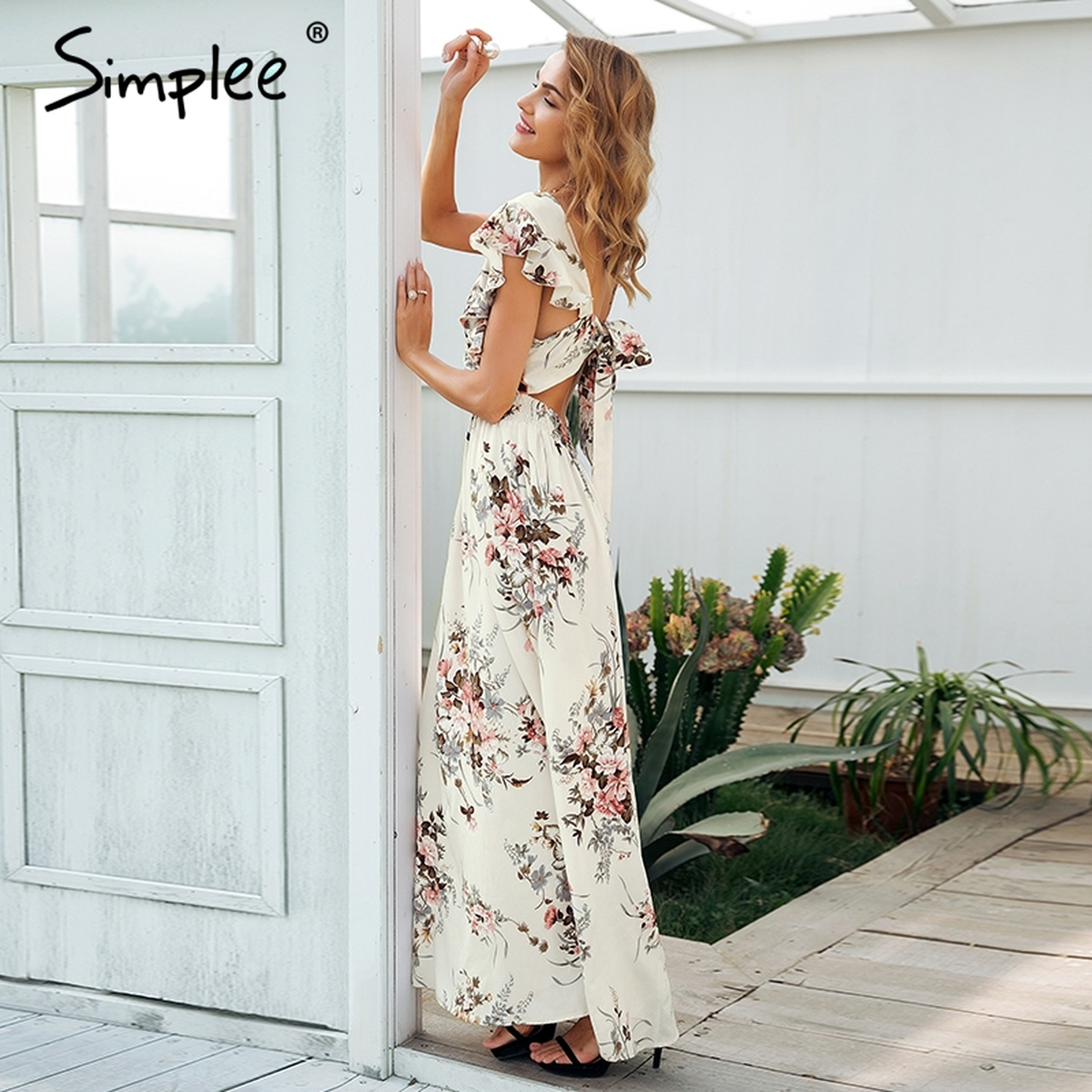 32ff69a569fef Simplee Ruffle backless bow print long dress Women v neck tie up summer  dress female Casual beach chic boho maxi dress vestidos