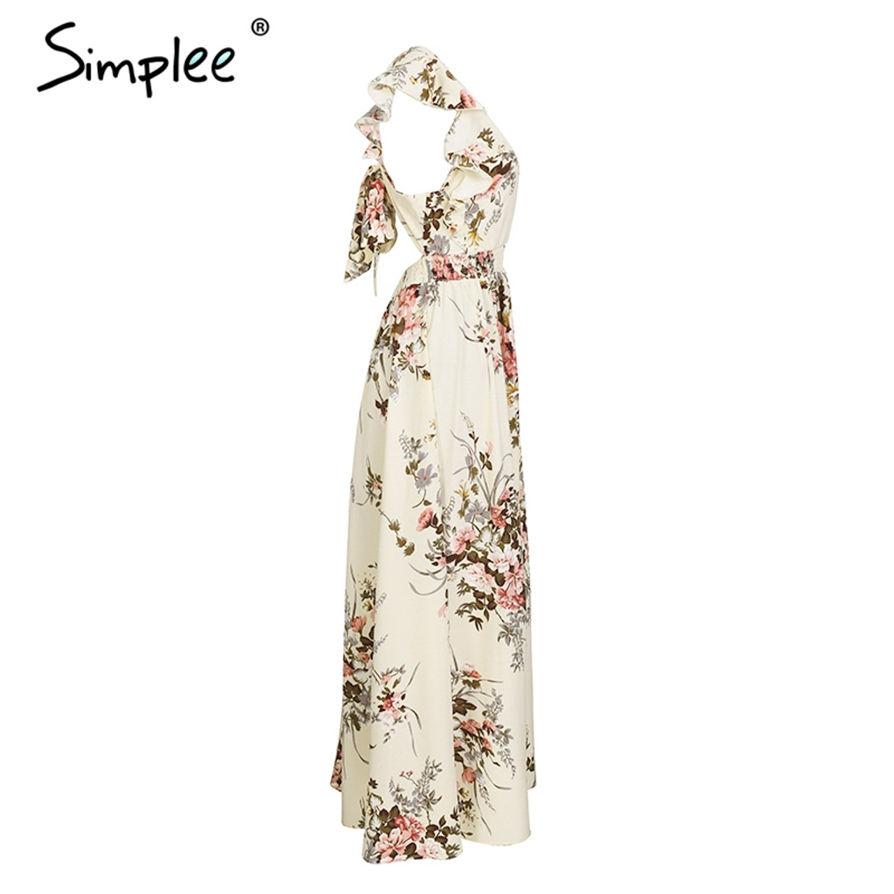 a5e28dc2760 ... Simplee Ruffle backless bow print long dress Women v neck tie up summer  dress female Casual ...